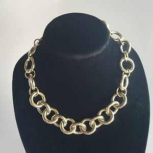Vtg J Crew chunky Gold tone statement necklace